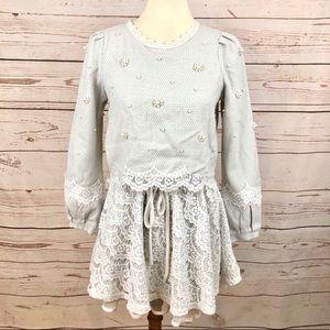 The P&K Pearl & Lace Flower Crop Top Tweed Dress